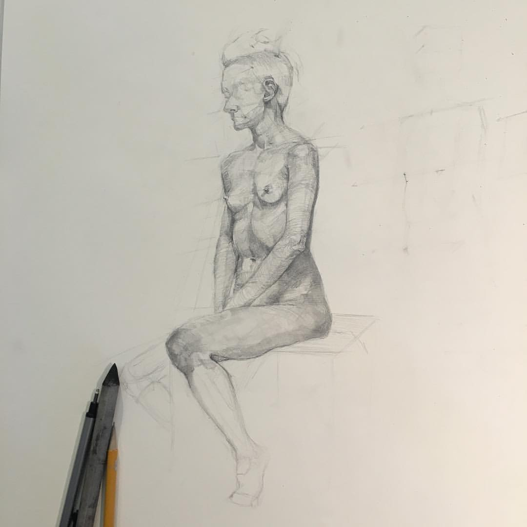 I've learned so much this year through the amazing teaching of @michaelgrimaldi wish I had more time to finish this one! #111franklin #figuredrawing #drawing #lifedrawing #anatomy  (at New York Academy of Art)