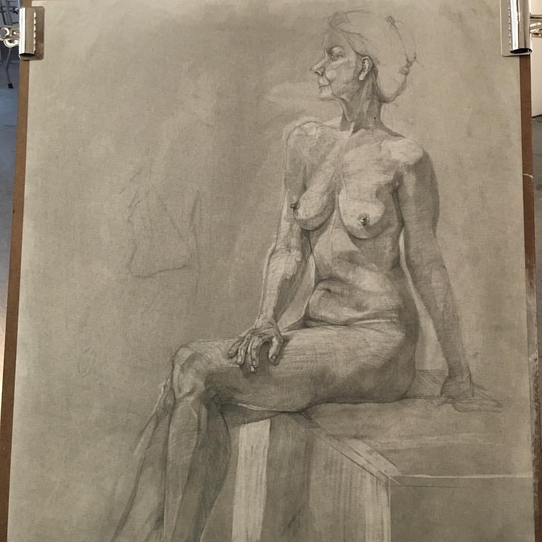 Drawing in progress. Graphite on paper. #111franklin #drawing #academydaily #graphite #figuredrawing #fineart  (at New York Academy of Art)