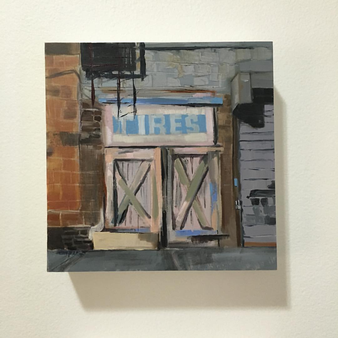 "Tiny painting #2 Oil on canvas, 6"" x 6"". #academydaily #111franklin #greenpoint #brooklyn #tires #fineart #oilpainting #tinypainting"