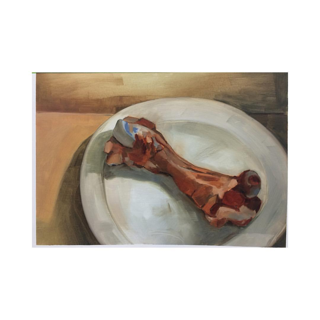 In class study using a dead color palette.#oil on #paper #oilpaint #111franklin #fineart #meat #stilllife
