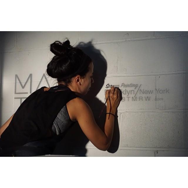 #TBD Caught doing some wall painting for my ❤️'s screen printing studio last night.  @mayb_tmrw #wallpainting #brooklyn #artstudio #afterlight #branding #logo #greenpoint #williamsburg #instaartist #WIP #screenprint #blackandwhite #minimal  (at Greenpoint, Brooklyn)