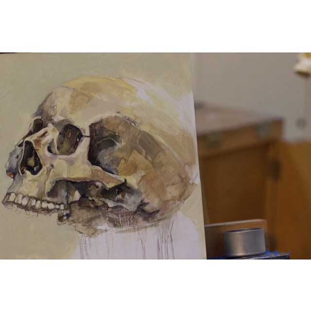 Having fun with this study. Almost there… #skull #oilpaint #art #painting #oilonpanel #artstudio #WIP #skeletalstudy #easel #detail #fineart #greenpoint #nycart (at Studio 18)