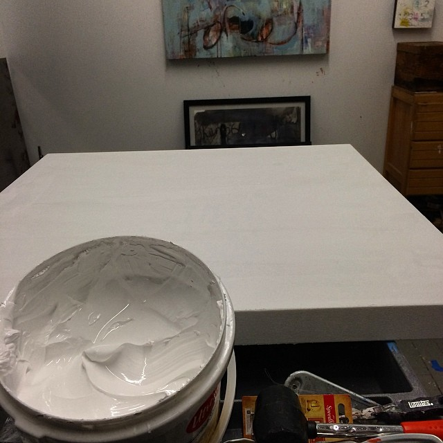 Swimming in gesso today. #art #artiststudio #nycart #prime #process #wip #white #stepone