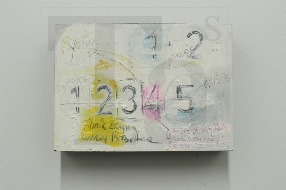 Untitled    2013   acrylic, oil crayon, colored pencil and graphite on MDF   5 x 7.5 inches     http://www.taniaalvarez .com