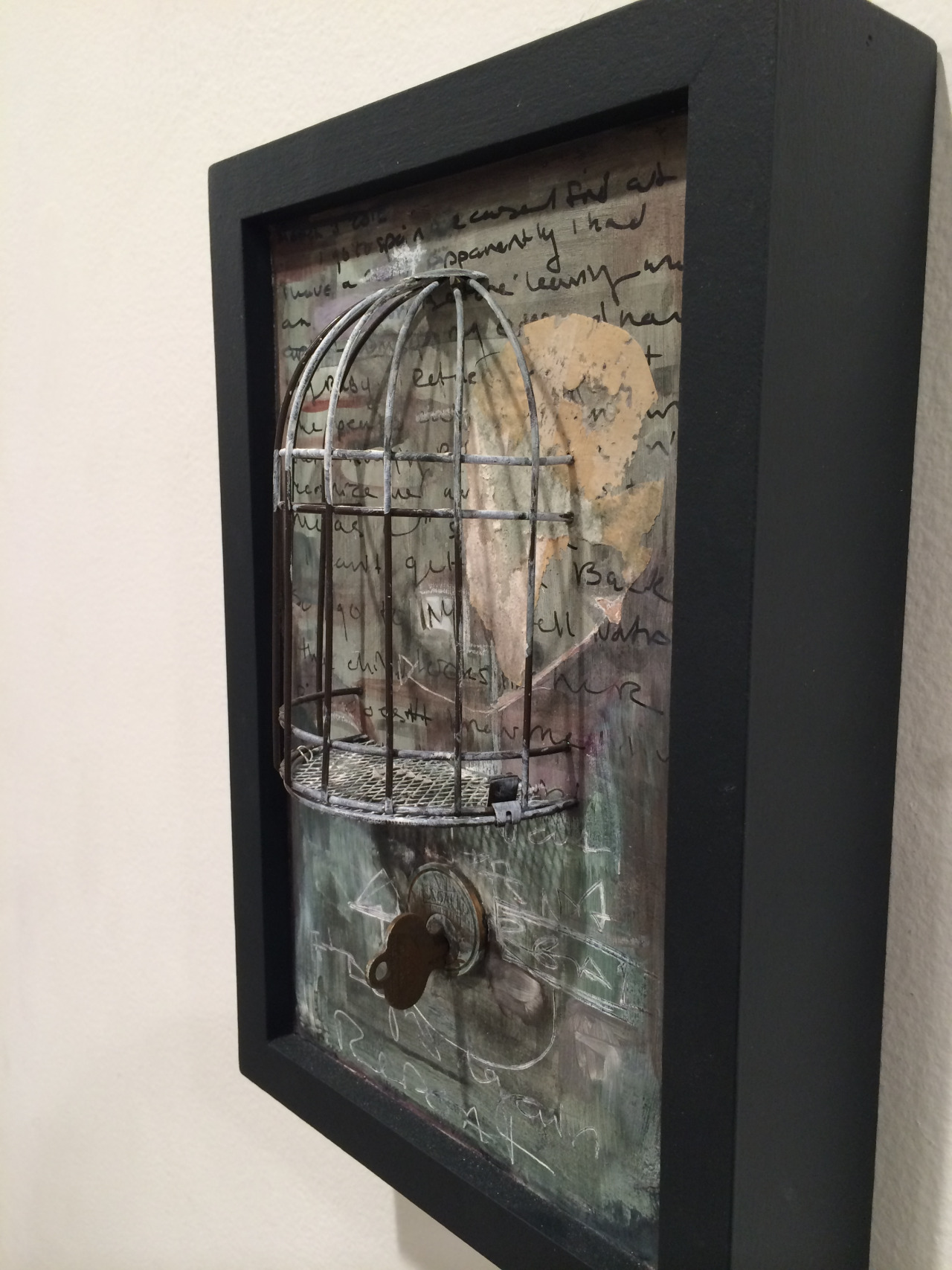 March 3rd    2012   bird cage, ink, key and lock on MDF   12 x 8 x 4 inches      http://www.taniaalvarez .com