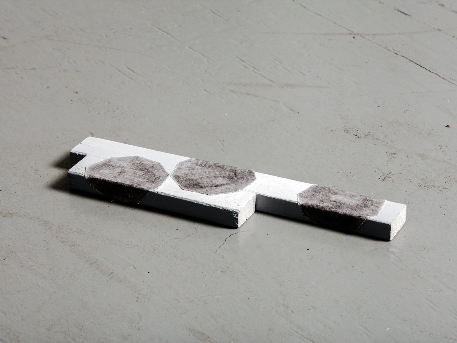 E2  Acrylic and cut canvas on wood