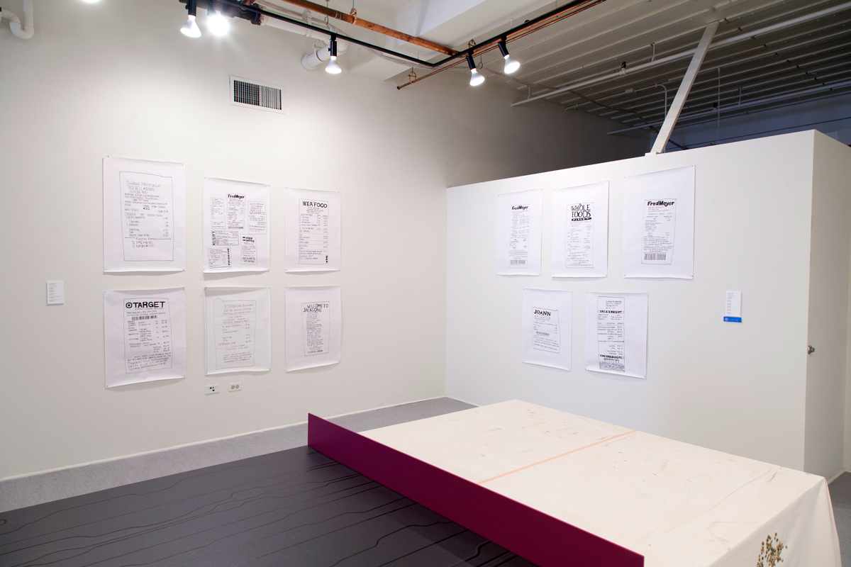 Installation view of work by Angela Finney and Kate Bingaman-Burt