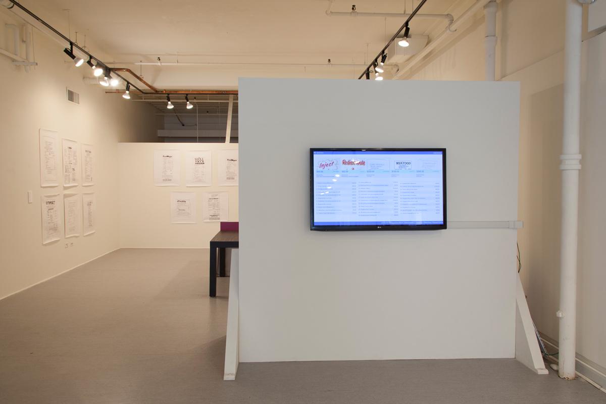 Installation view of work by Kyle Fletcher and Derek Moore, Angela Finney and Kate Bingaman-Burt