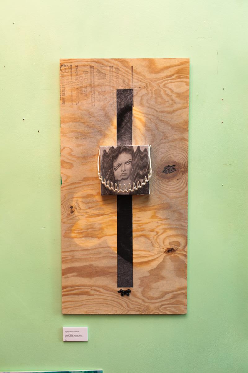 16 x 32 inches Plywood, airbrush, spray paint, hair bandand acrylic transfer on canvas 2013