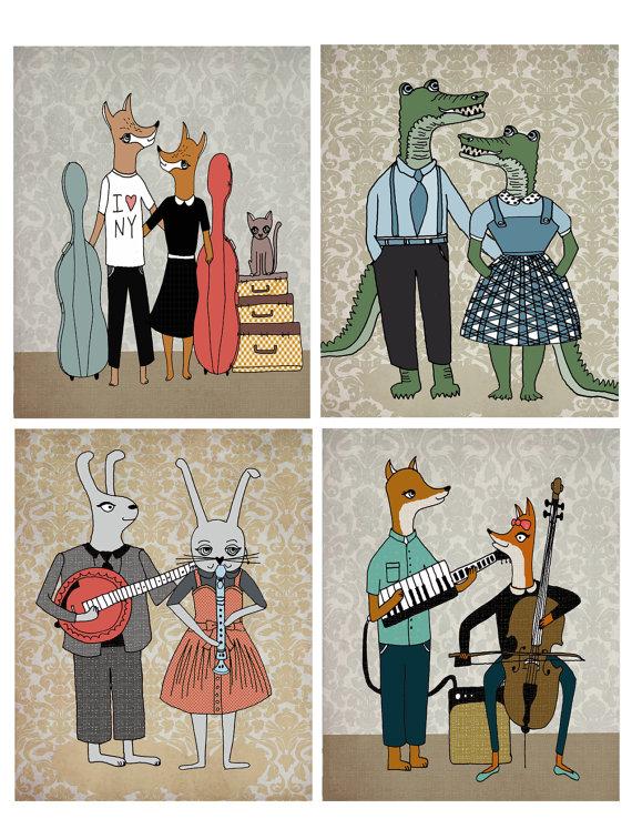 hipster animal family portrait