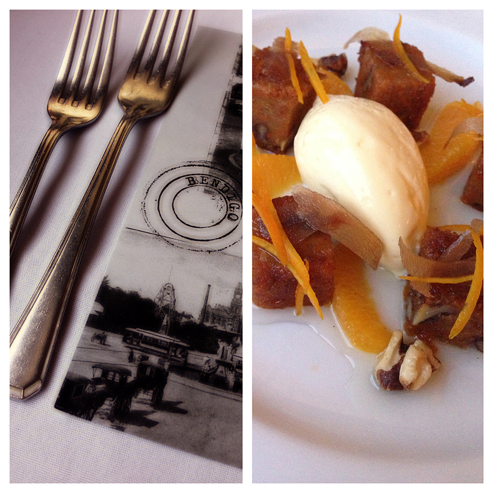 Carrot pudding: cheesecake mousse, candied galangal, poached orange, roast walnuts & sauternes syrup