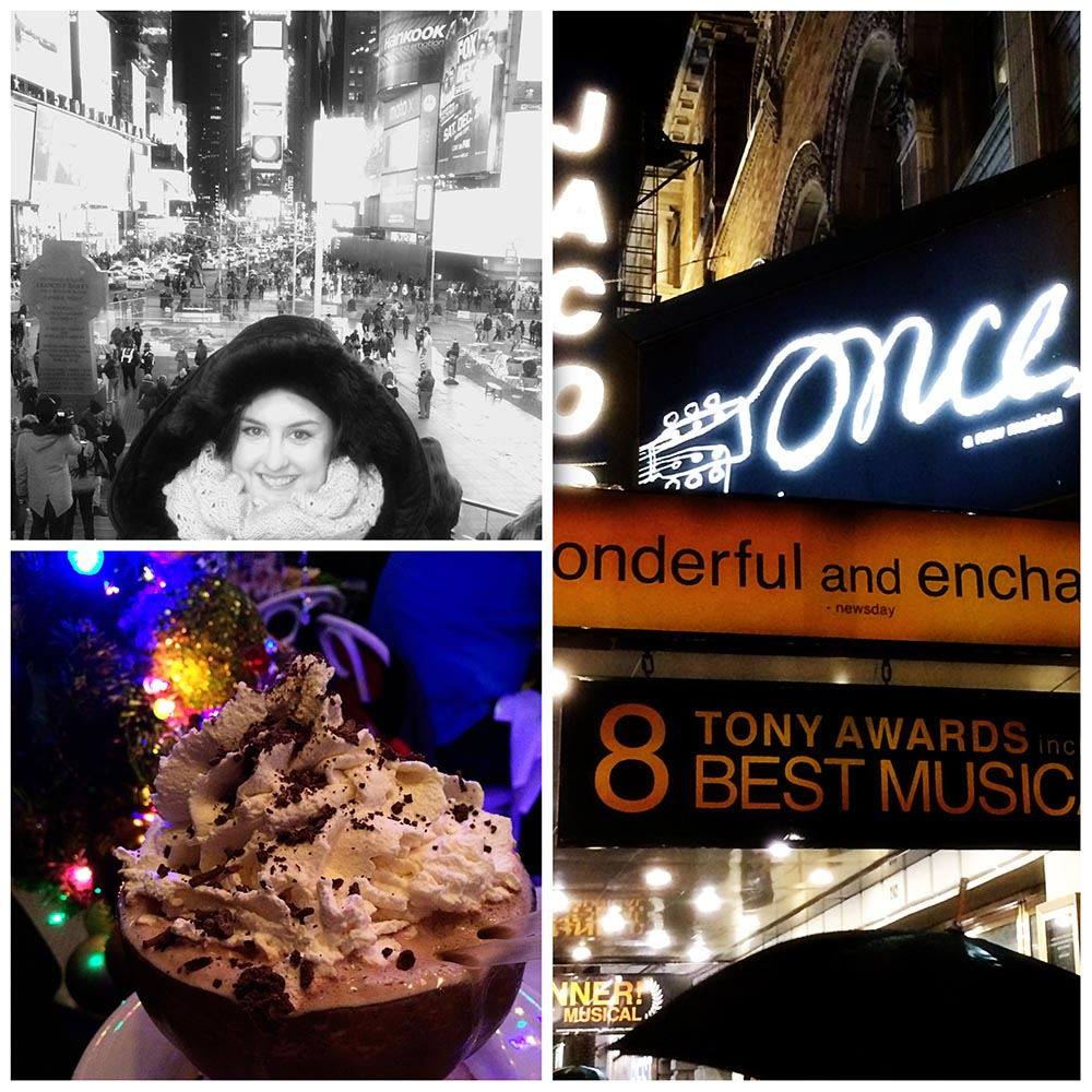 Me in Times Square // Serendipity's Frozen Hot Chocolate // Taste of Broadway