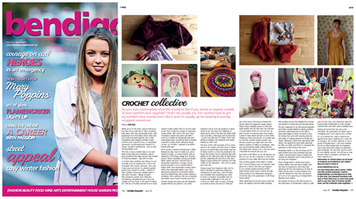 """Winter 2015:    In which I step outside of my comfort zone and take a crochet class at a favourite cafe, and meet two lovely creatives as a result...otherwise known as """"Crochet Collective"""" from the winter issue of the Bendigo Magazine.  P.S. You can meet them too! I have extended Q&A's with Caitlan from Indie Stitches  here , and Jacinta (who teaches the class) from Hattie Loves  here . The blog post for the article (you can see what I taught myself to make) is  here , and the full version of the article is  here . Note that since the article was written, Jacinta has moved on from Brewhouse, is still teaching her classes, just in new locations. Best to follow her on Facebook (see Q&A) to stay up to date! Don't forget to sign up to my newsletter or follow all things Petit Pixel Design using the links below. Also since last issue I have started an  online store  selling sweet 8x10 custom designed prints...perfect for your little one, you or as a present for a lucky someone!   Facebook / Twitter / RSS / BlogLovin' / Newsletter /  Instagram /  Pinterest /  Store"""