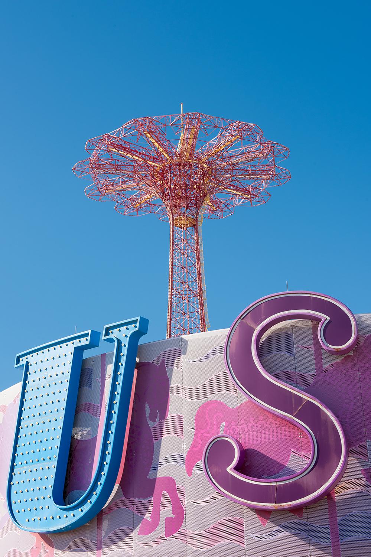 Horse carousel and Parachute Jump.