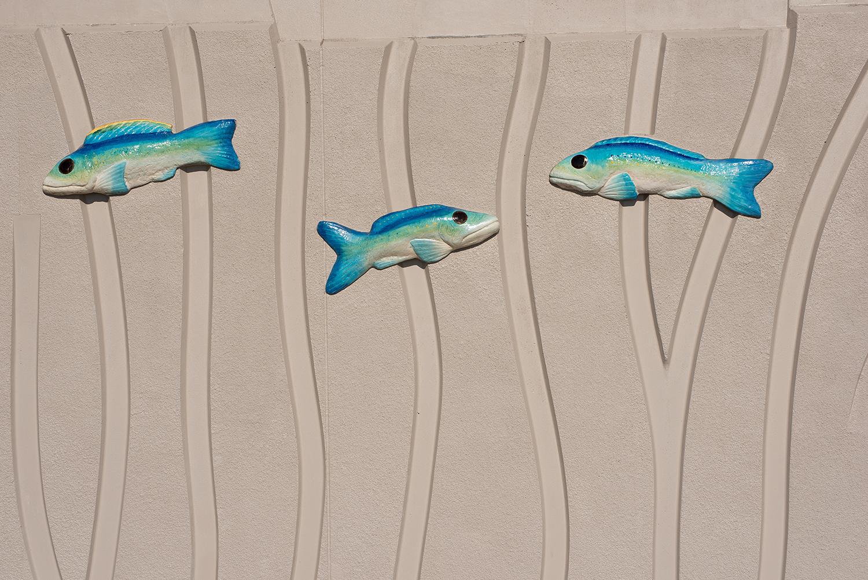 Artwork by Toshio Sasaki on the Coney Island boardwalk.
