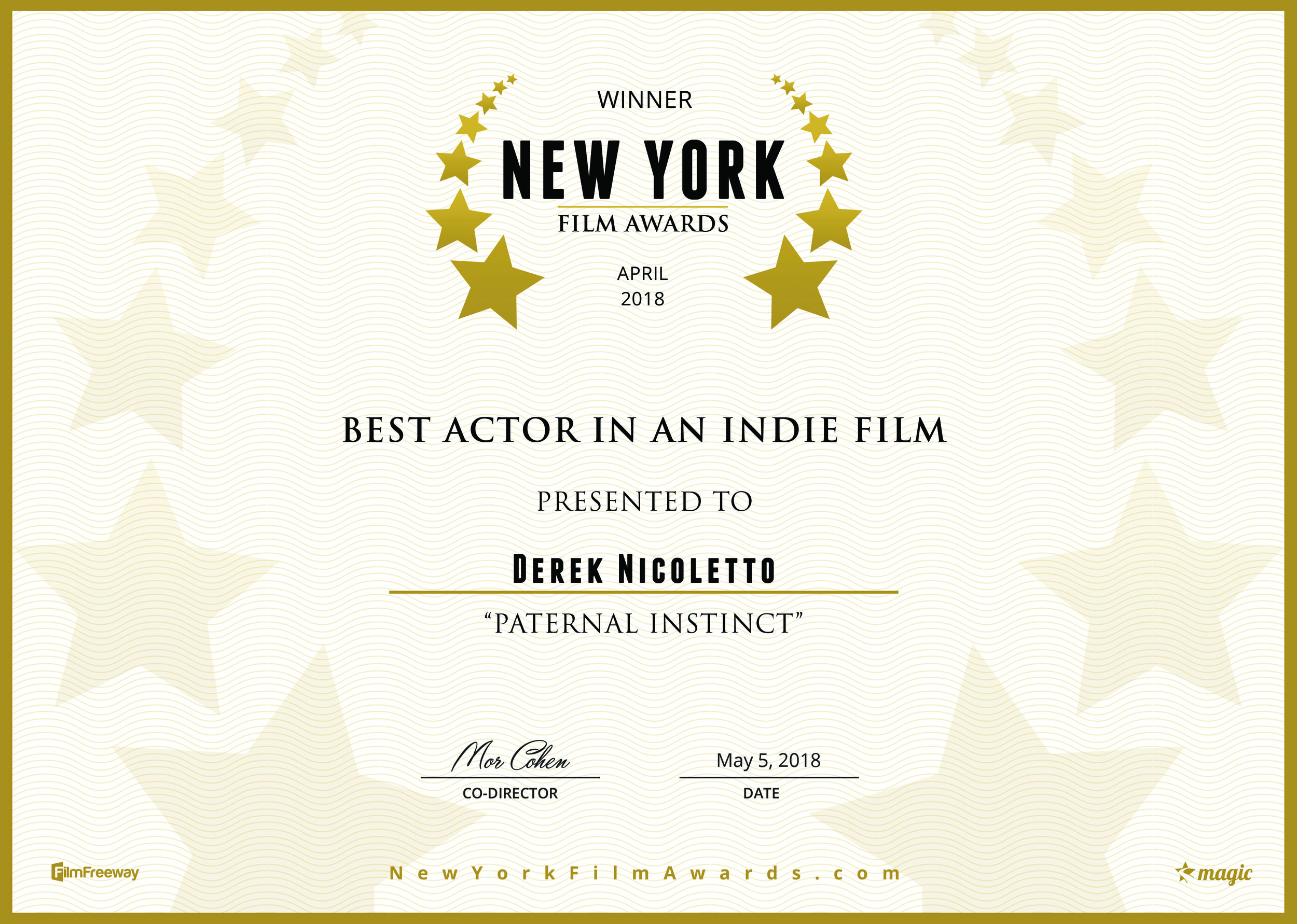 - MAY 2018: The New York Film Awards have named Derek Nicoletto