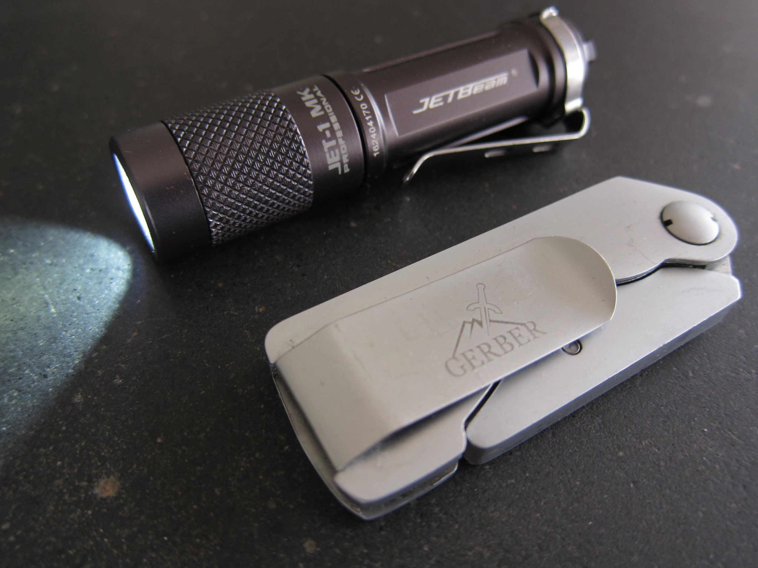 Jetbeam Jet-1 MK Professional with the equally diminutive Gerber EAB knife.