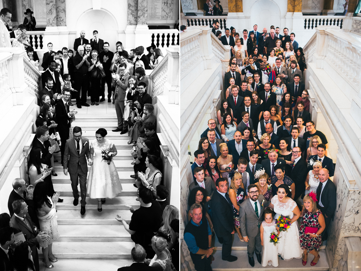 Camden Town Hall, classic London wedding, London wedding photographer, group wedding shot