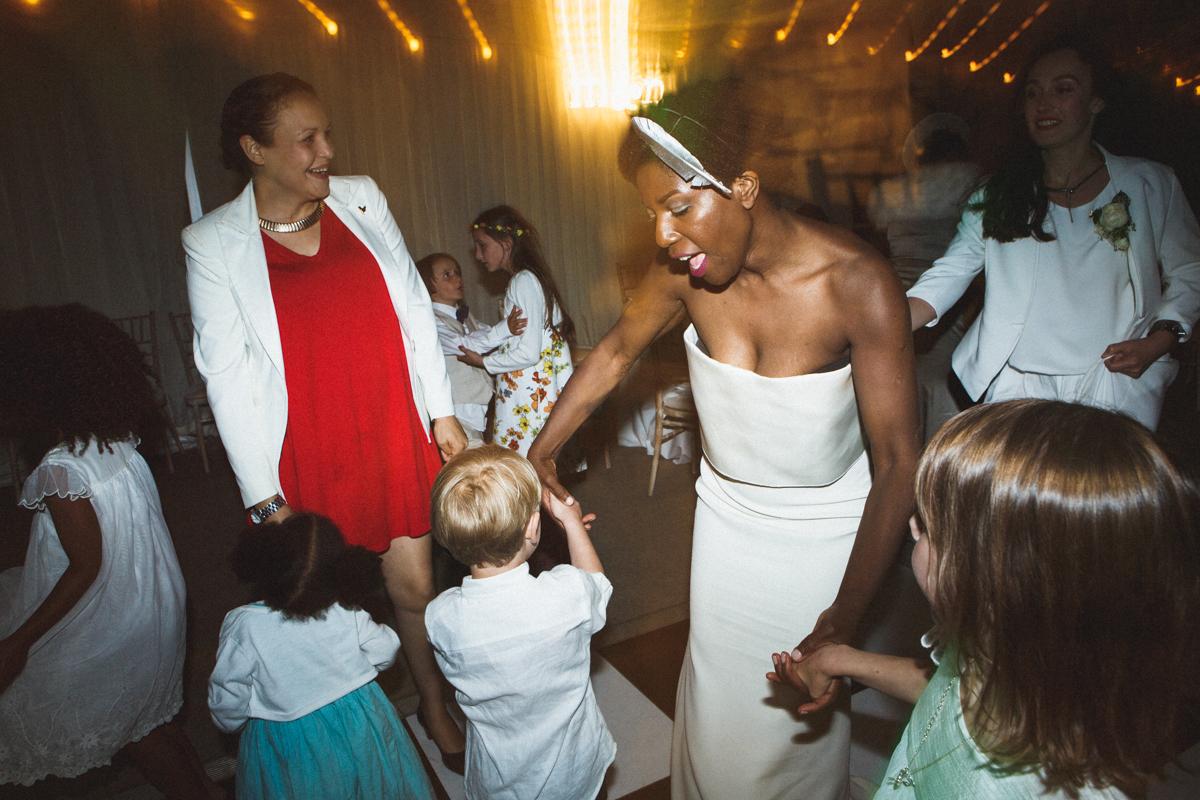 dancing at the wedding, kids friendly wedding, unique bridal portrait