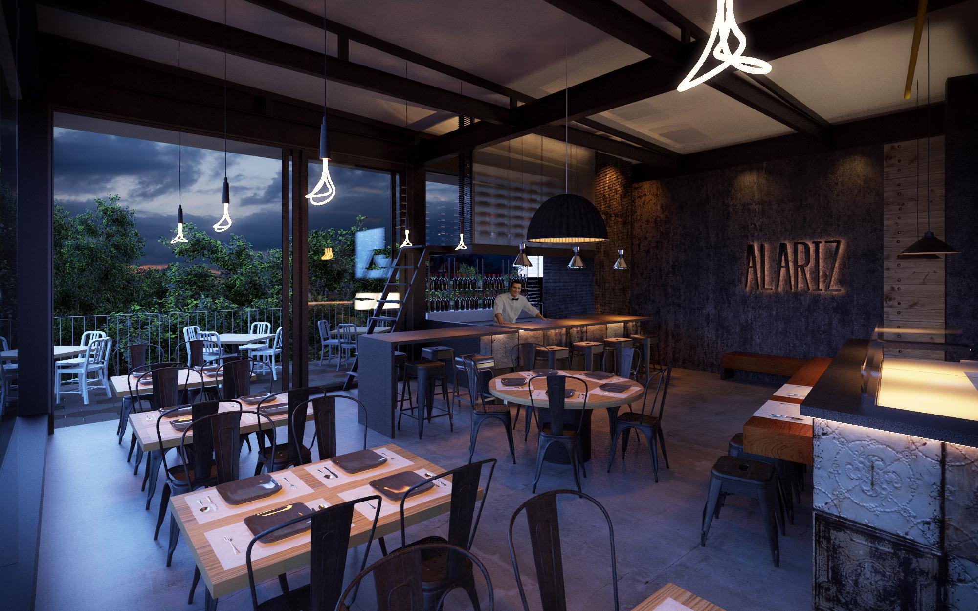 Tipo: Restaurante  Área de Construcción: 250 m2  Render:  CADS   Inicio de obra: Diciembre 2013  Ubicación: Guadalajara, Jal.