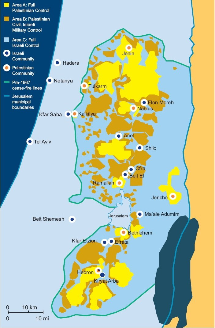 A+B (yellow and brown)=40% C (blue inside the line) 400K settlers + 90K Palestinians.