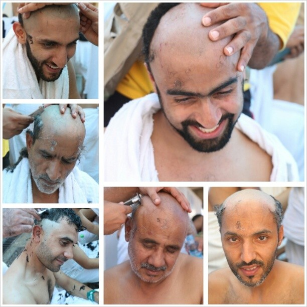 Men on the hajj smiling (mostly) as they get their locks shaved (Photo:  Al_sairafi /Instagram)