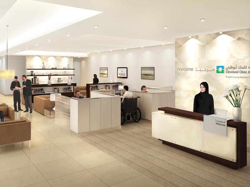 Architectural mock-up of the Celeveland Clinic in Abu Dhabi