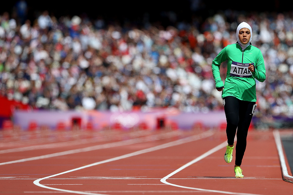 American-based Sarah Attar was the first Saudi track athlete to compete in the Olympics, seen here at the London 2012 Olympic Games (Photo bytrcanje/flickr)