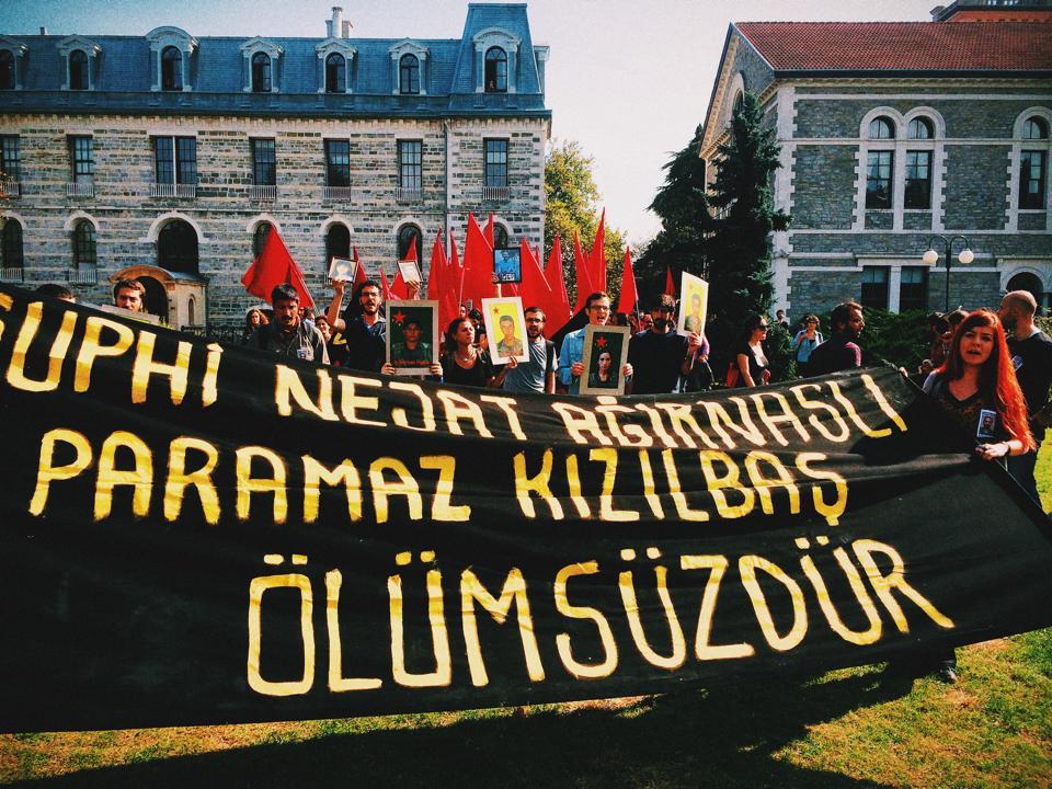 A memorial service held at Bogazici University forNejat Ağırnaslı, a recent sociology graduate who was killed fighting alongside Kurdish forces in Kobane against the Islamic State (Photo Credit: Erin O'Brien)