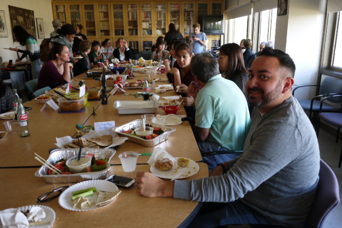 Our conference-room-turned-feasting-hall in all its caloric glory. (Photo: Monica Ma/ UCLA)