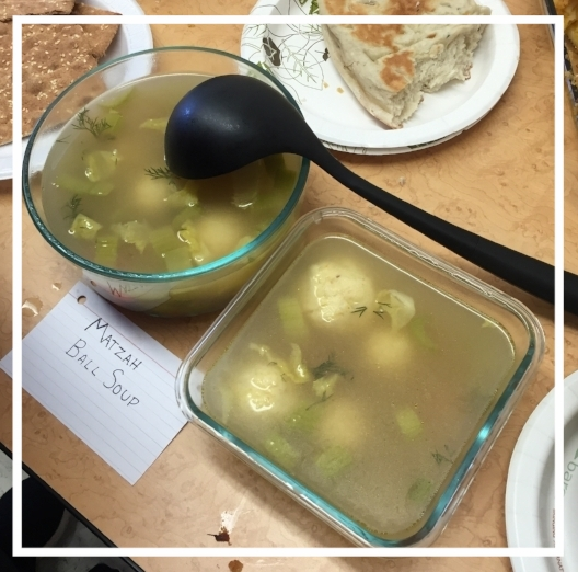 Nirit's Matzo ball soup was a welcome addition to the spread of comfort food at our potluck.