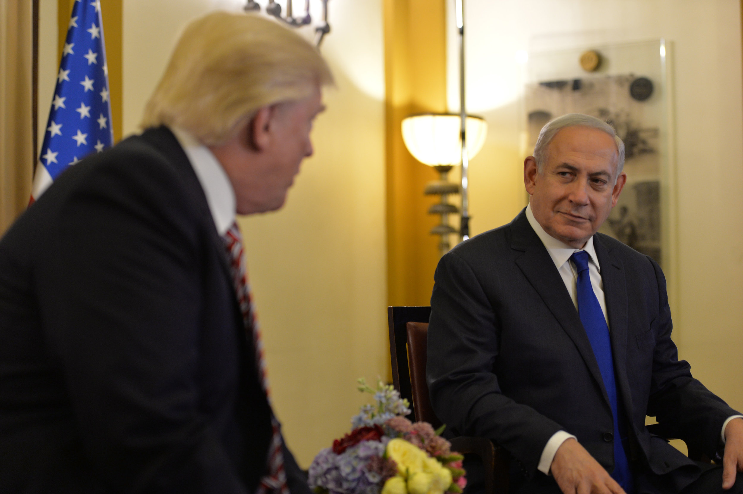 Benjamin Netanyahu and U.S. President Donald Trump are seen during their meeting at the King David hotel in Jerusalem, May 22, 2017. [PHOTO:  Israeli Ministry of Foreign Affairs  VIA FLICKR]