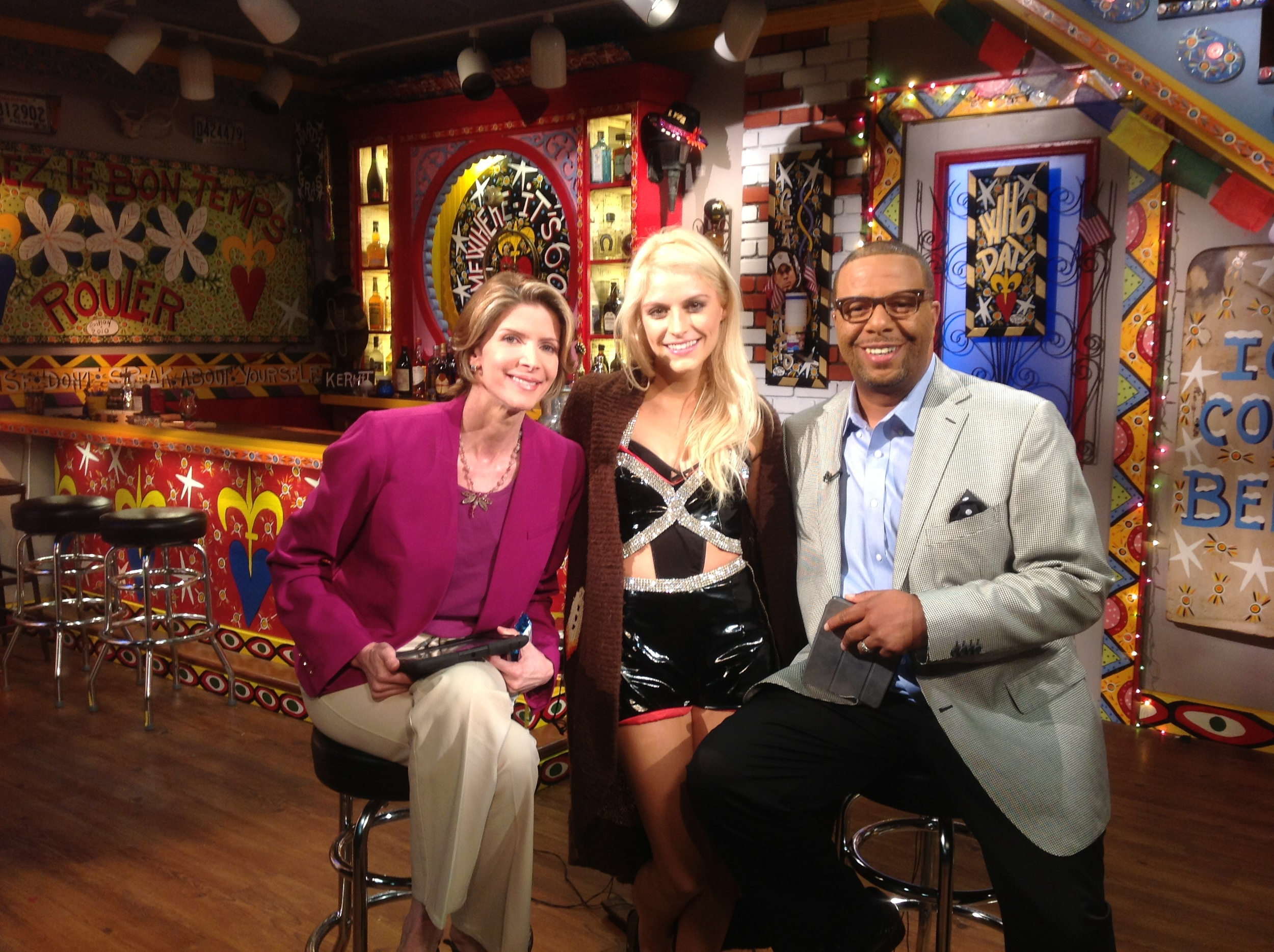 Rachel with Susan Roesgen & LBJ on set at News With a Twist!