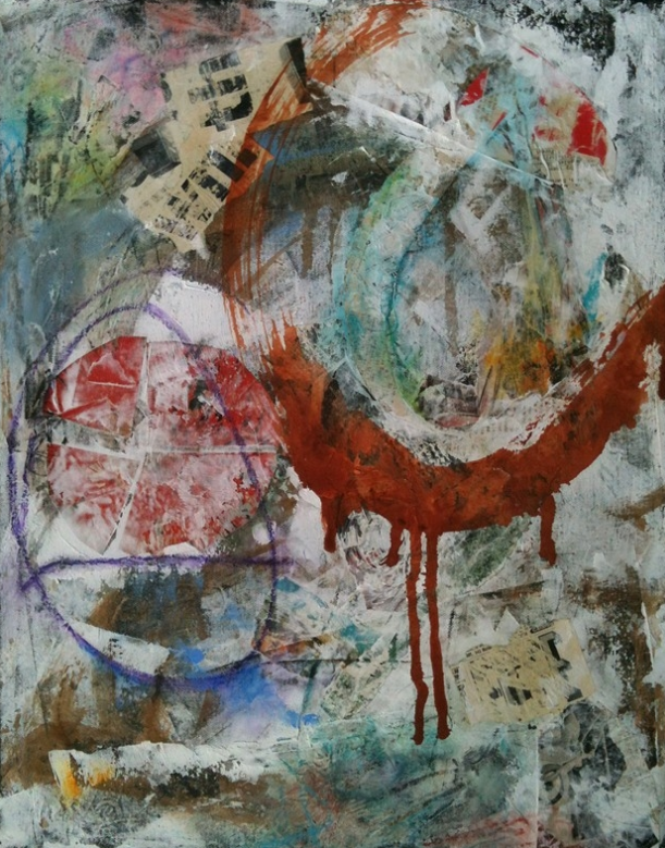 Stained Gesture, mixed media