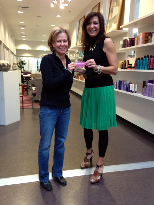 Raffle contest winner Trisha Brown with TOMORROWS Stylist Roberta