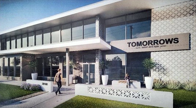 This rendering illustrates TOMORROWS' future building facade at 20160 Center Ridge Road.