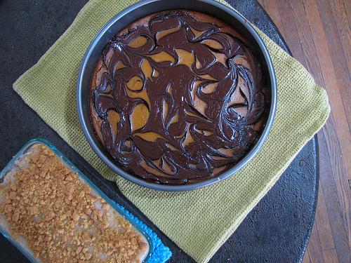 t-giving 2012 chocolate-swirled pumpkin pie and banana pudding.jpg