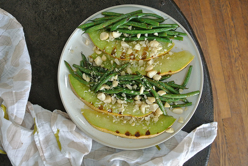 seared melon with miso-glazed hericots verts table.jpg
