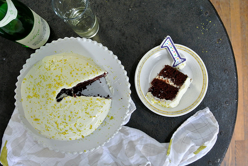 chocolate layer cake with mimosa creamsicle frosting table.jpg