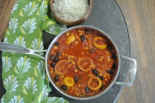 lemon chickpeas and kalamata olives in a spiced tomato sauce table.jpg
