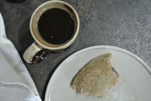 dead simple jumbo blueberry buckwheat pancake filled with almond butter w coffee.jpg