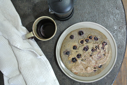 dead simple jumbo blueberry buckwheat pancake filled with almond butter table.jpg