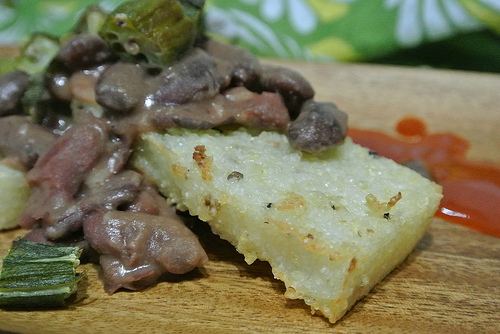 red beans and broiled grits squares with roasted okra detail.jpg