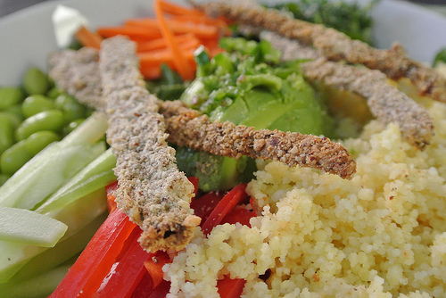 the seriously serious salad with sesame-crusted scallions and peanut dressing detail pepper couscous.jpg