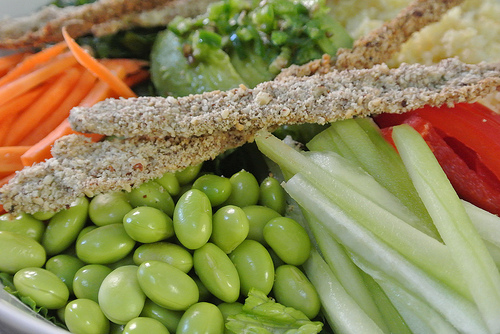 the seriously serious salad with sesame-crusted scallions and peanut dressing detail green.jpg