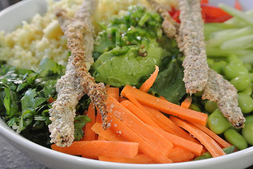 the seriously serious salad with sesame-crusted scallions and peanut dressing detail carrot.jpg