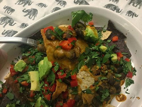 dead simple black bean nachos with chipotle pumpkin sauce fork.jpg