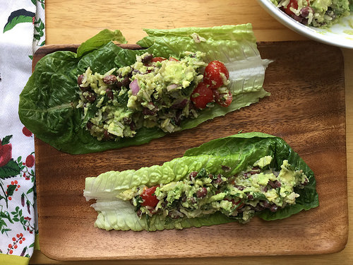 power plates guacamole rice salad with black beans in romaine.jpg