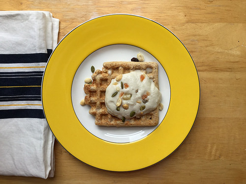 power plates whole grain waffles with whipped banana-coconut cream table.jpg