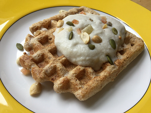 power plates whole grain waffles with whipped banana-coconut cream detail.jpg